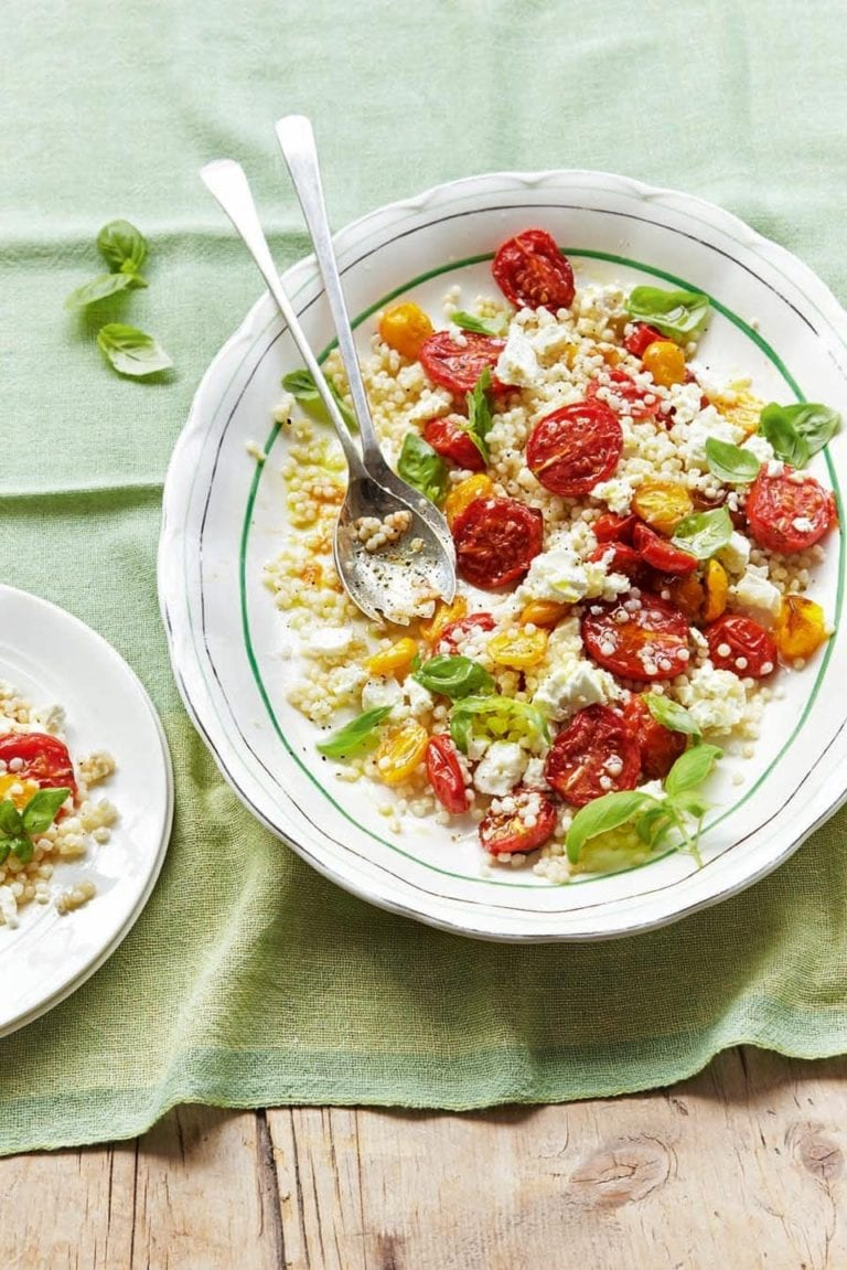 Roasted tomato, giant couscous, feta and basil salad