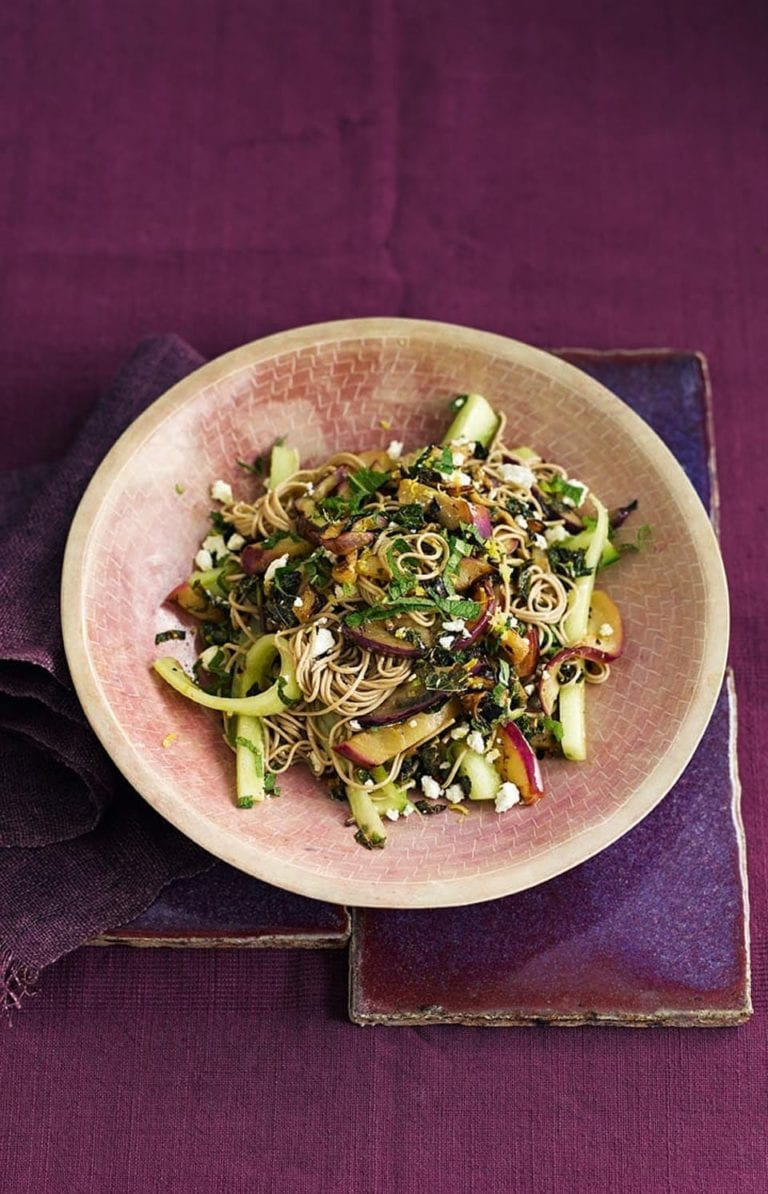 Aubergine and feta soba noodle salad
