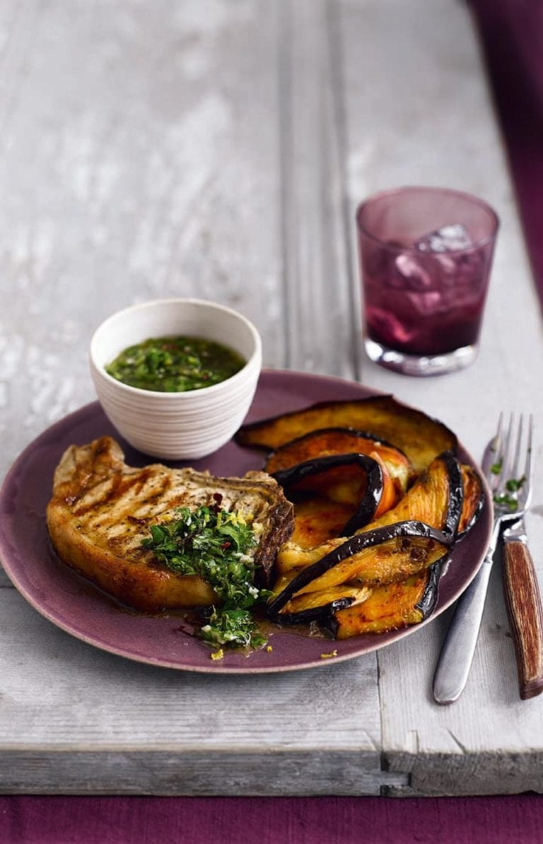Spicy aubergines with pork chops & chimichurri sauce