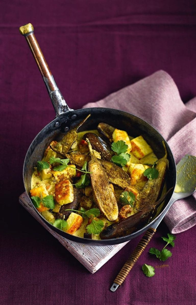 Aubergine, paneer and ginger curry
