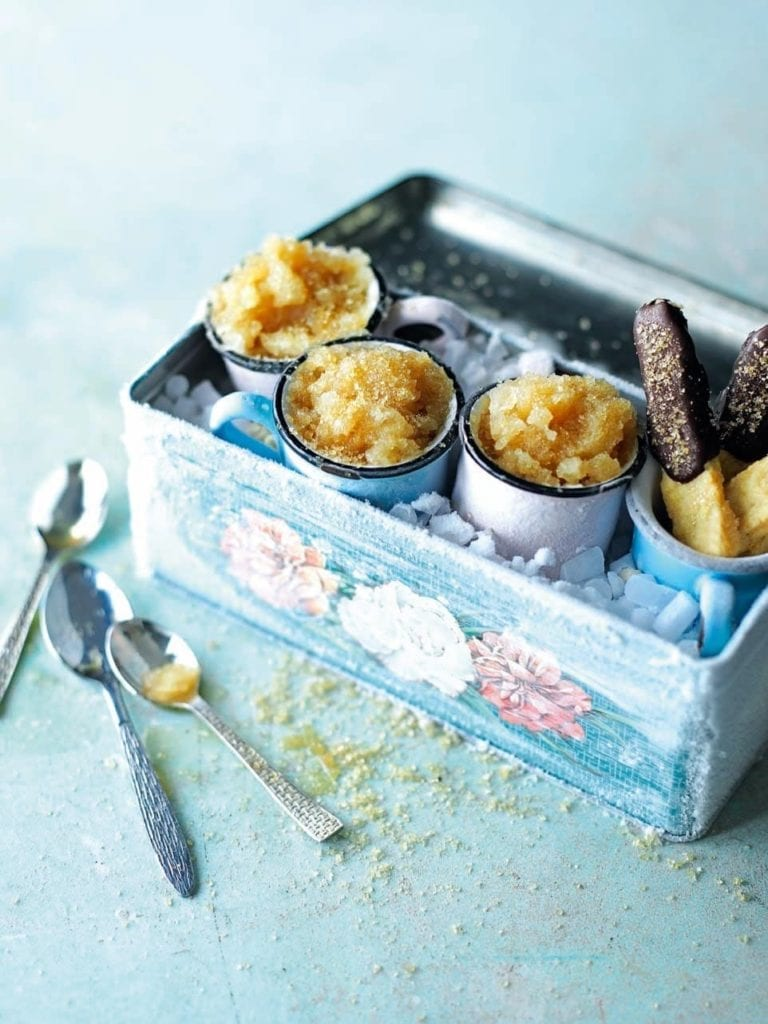 Cider lolly granita with chocolate biscuit sticks