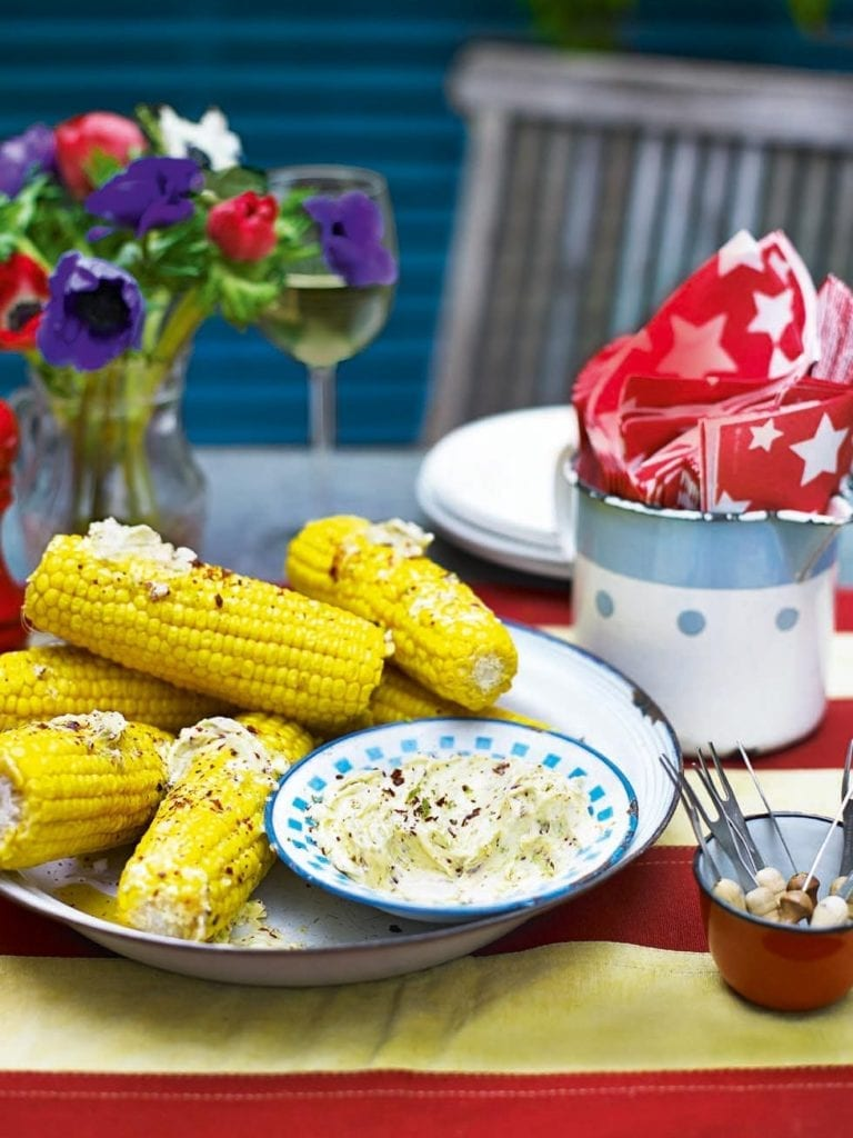 Steamed corn on the cob with lime and chilli butter