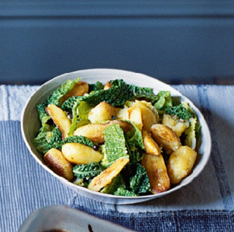 Fried Potatoes With Savoy Cabbage Garlic And Juniper Recipe Delicious Magazine