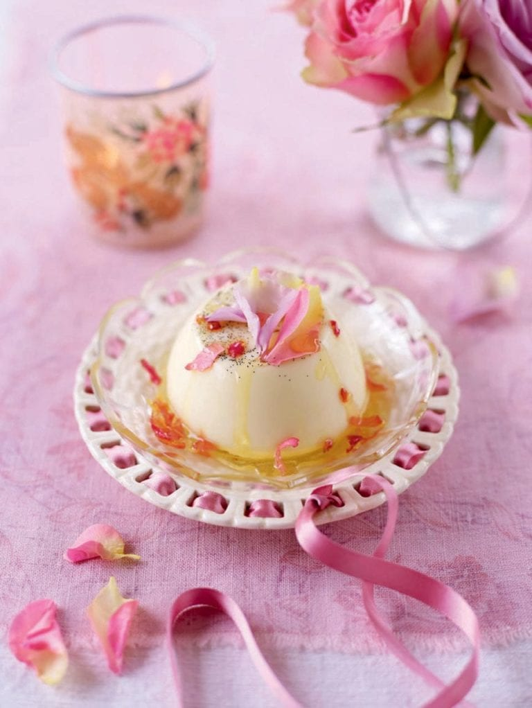 Vanilla pannacotta with rose petal syrup