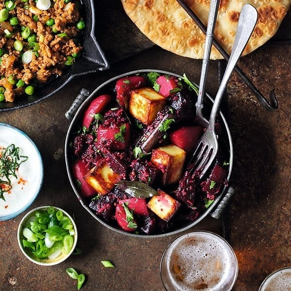 Beetroot and paneer curry