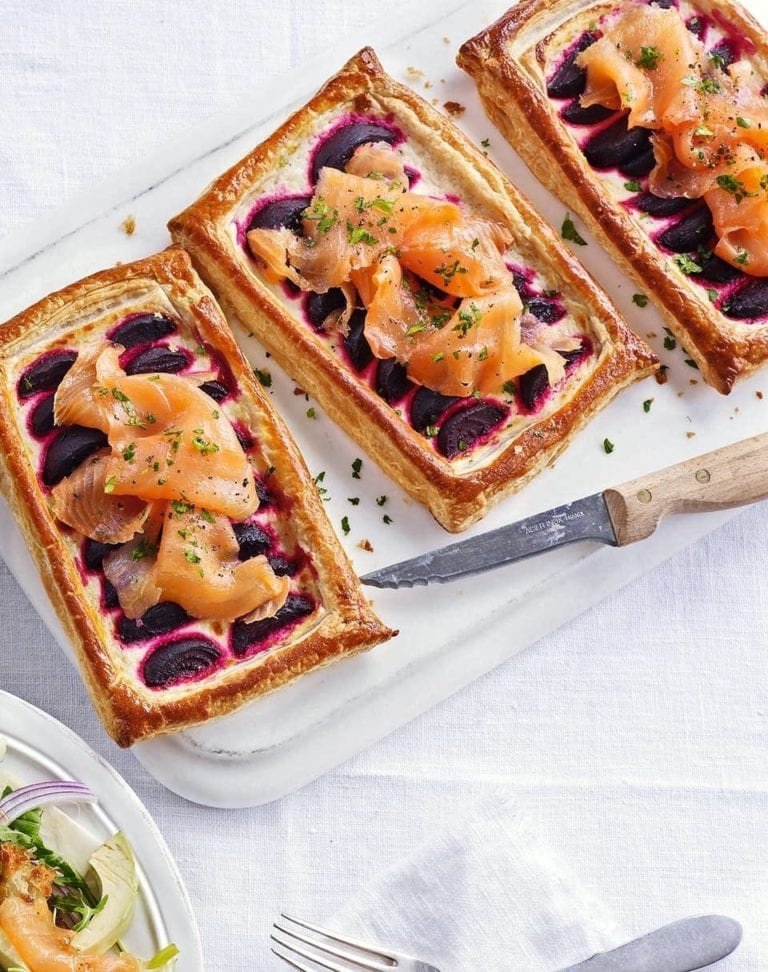 Beetroot and smoked salmon tart with horseradish