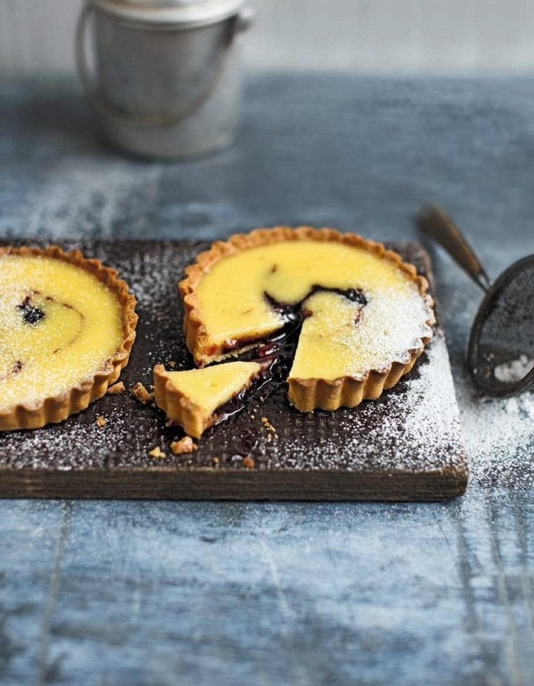 Damson custard tartlets