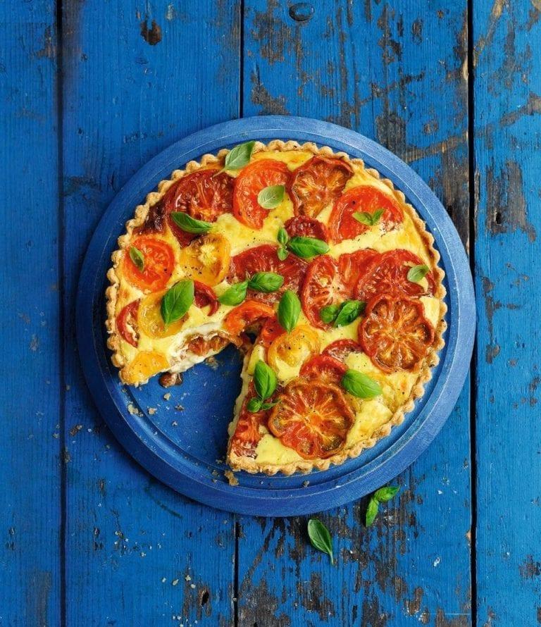Heritage tomato, cheese and chutney tart