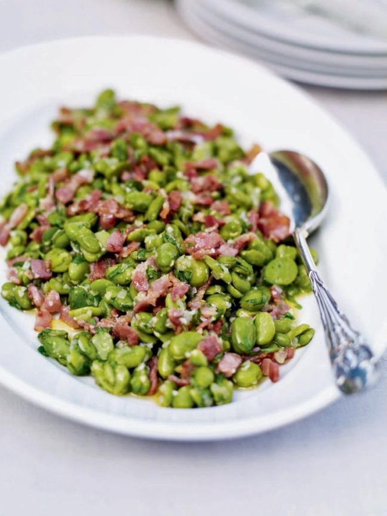 Warm broad bean salad with bacon