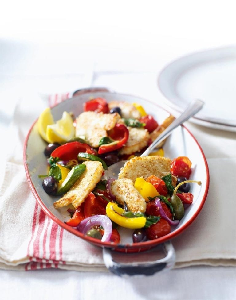 Sesame-crusted halloumi with Mediterranean veg