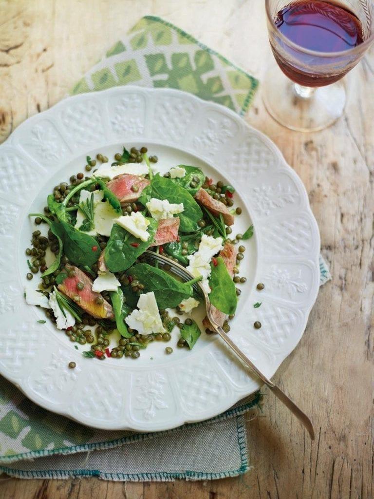 Warm lentil and lamb salad