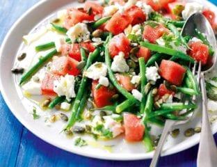 Feta, watermelon and green bean salad