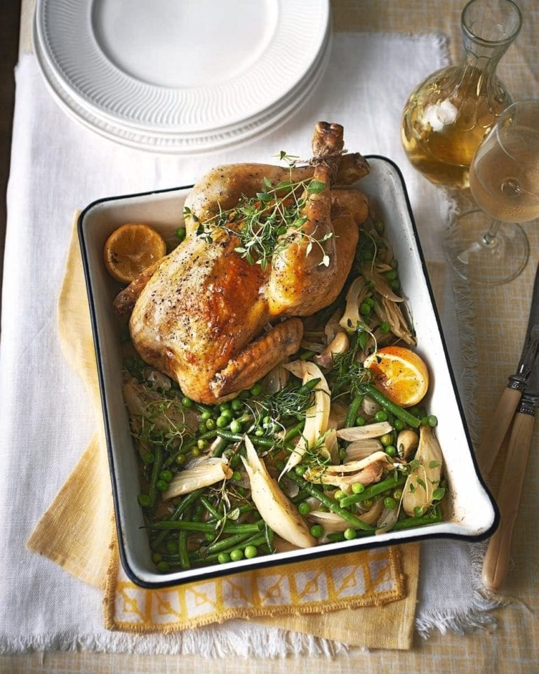 Pot-roast chicken with lemon, fennel, peas and beans