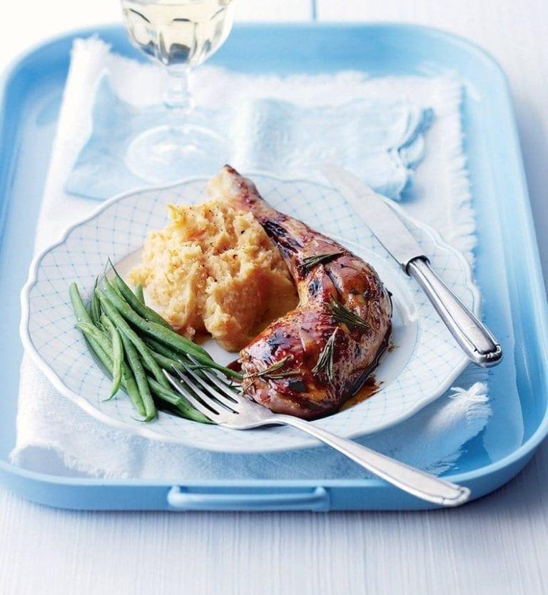 Rosemary and honey roast chicken with garlic mash