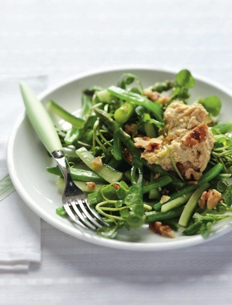 Dill houmous with green veg salad