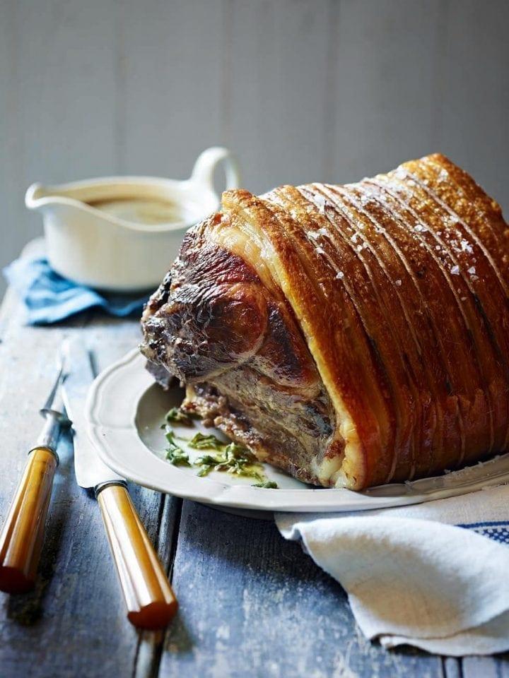 Slow-roast pork shoulder with sage, garlic and lemon