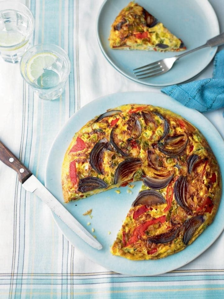 Roasted pepper and red onion frittata