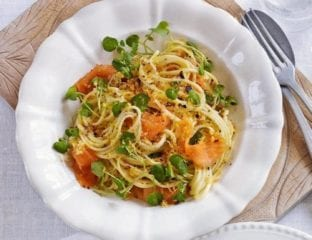 Smoked salmon and watercress linguine with chilli crumbs
