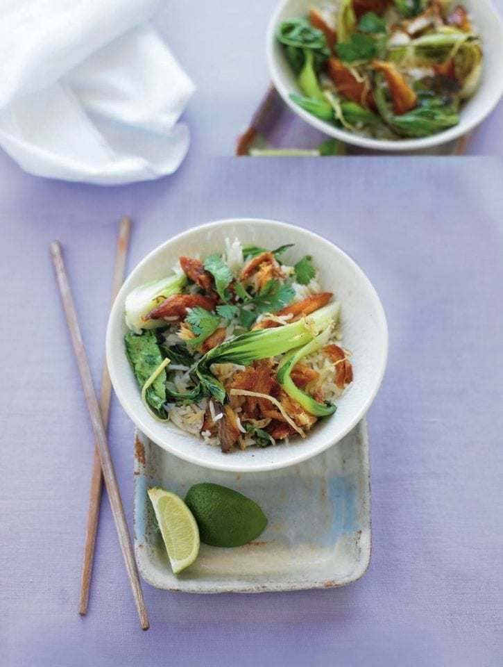 Smoked mackerel stir-fry with pak choi and rice