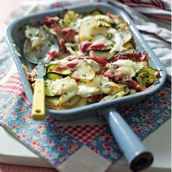 Three-cheese summer vegetable bake