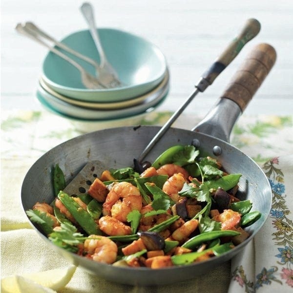Piri piri prawn and vegetable stir-fry