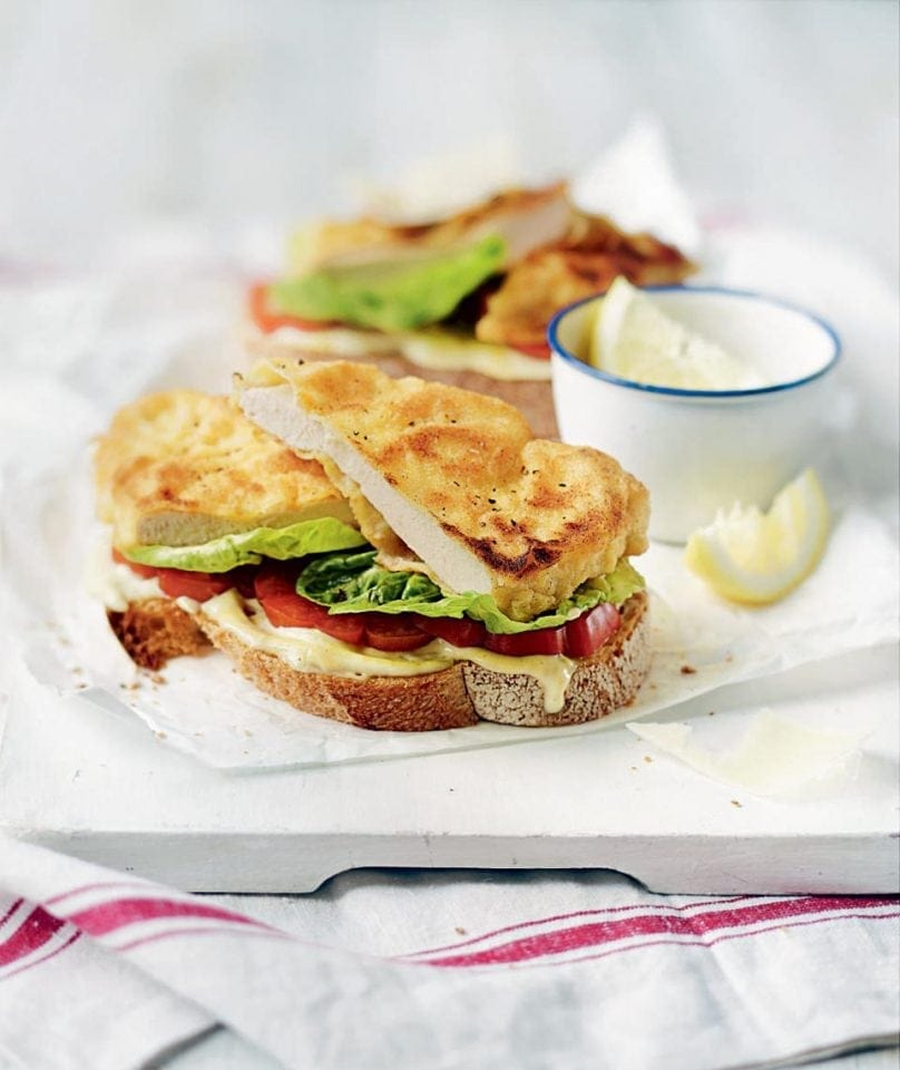 Chicken Schnitzel Open Sandwiches Recipe Delicious Magazine
