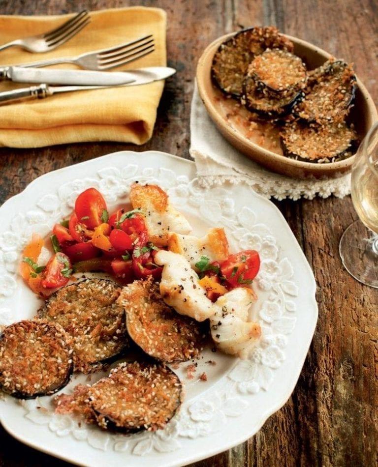 Monkfish with salsa