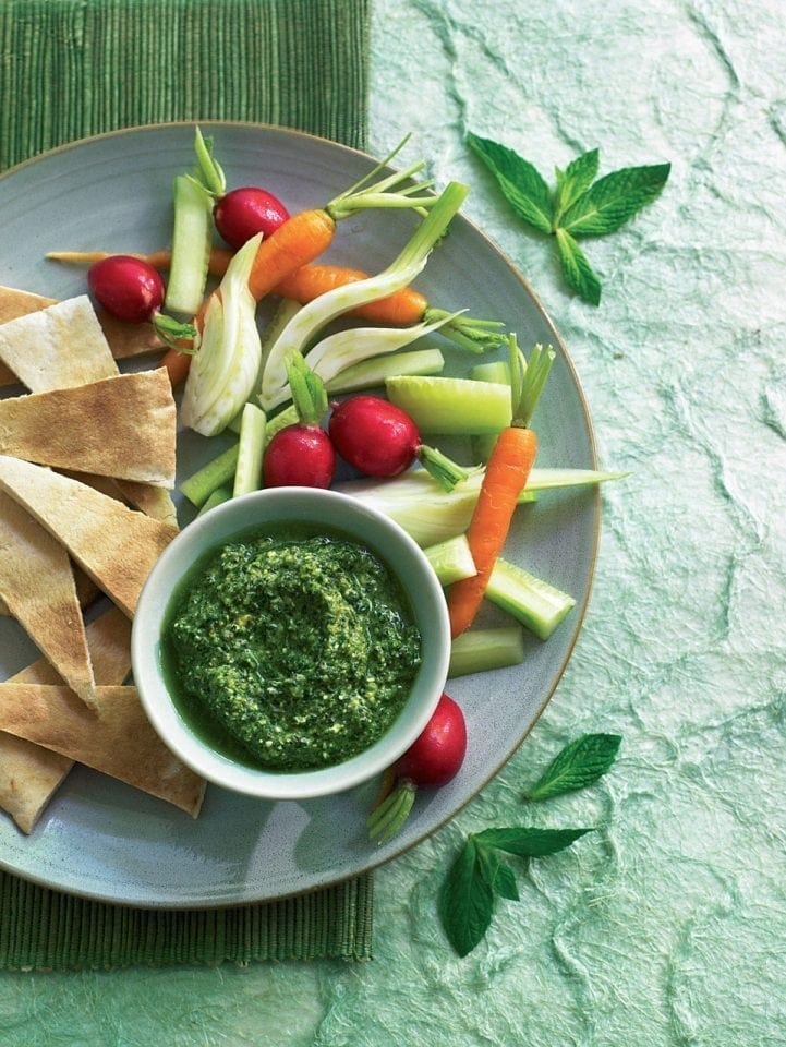 Feta pesto with crudités and toasted pitta bread