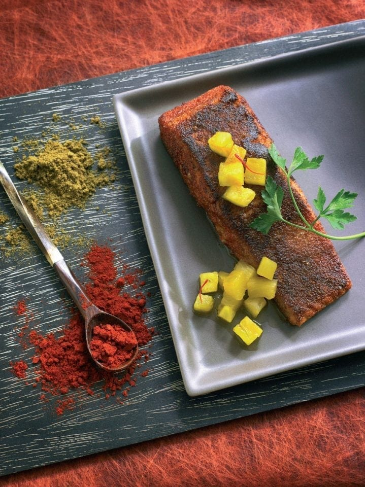 Spiced salmon with pineapple salsa