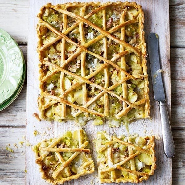 Leek, potato and gorgonzola tart