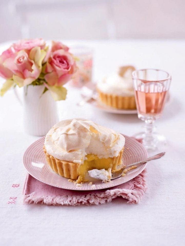 Individual lemon meringue pies with a hint of orange