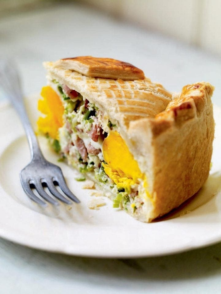 Deep-filled egg and bacon pie