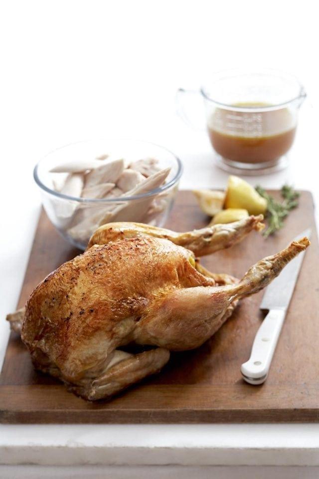 Roast chicken with speedy white wine and thyme gravy