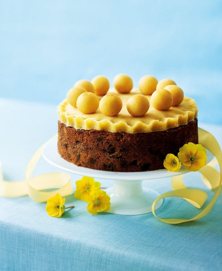Pear and apricot simnel cake