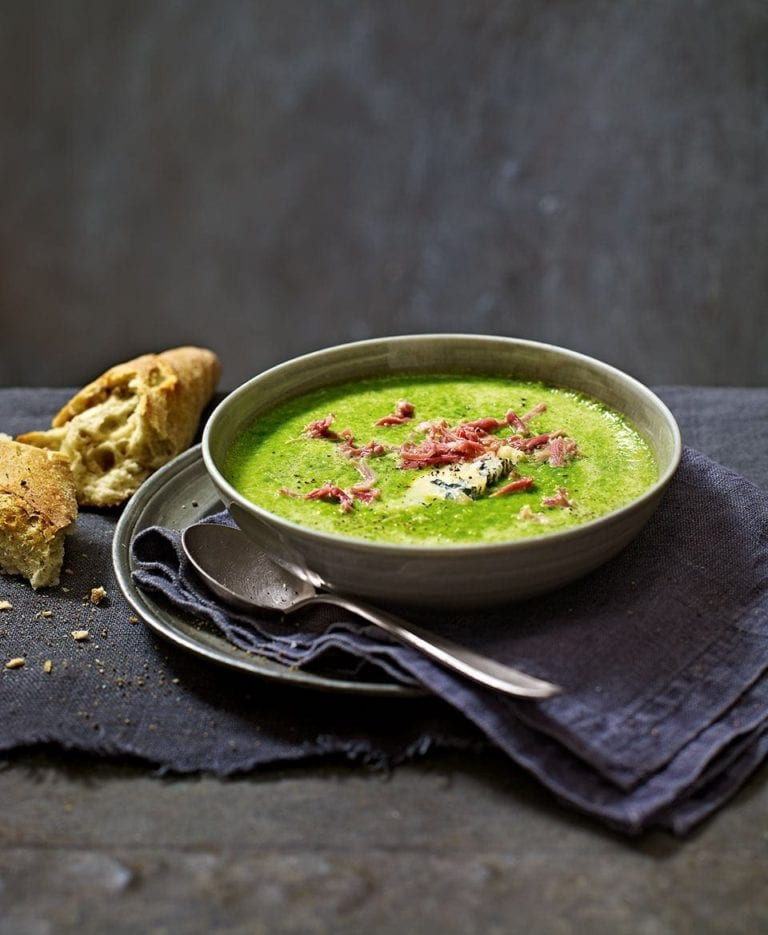 Pea soup with gorgonzola dolce and ham hock