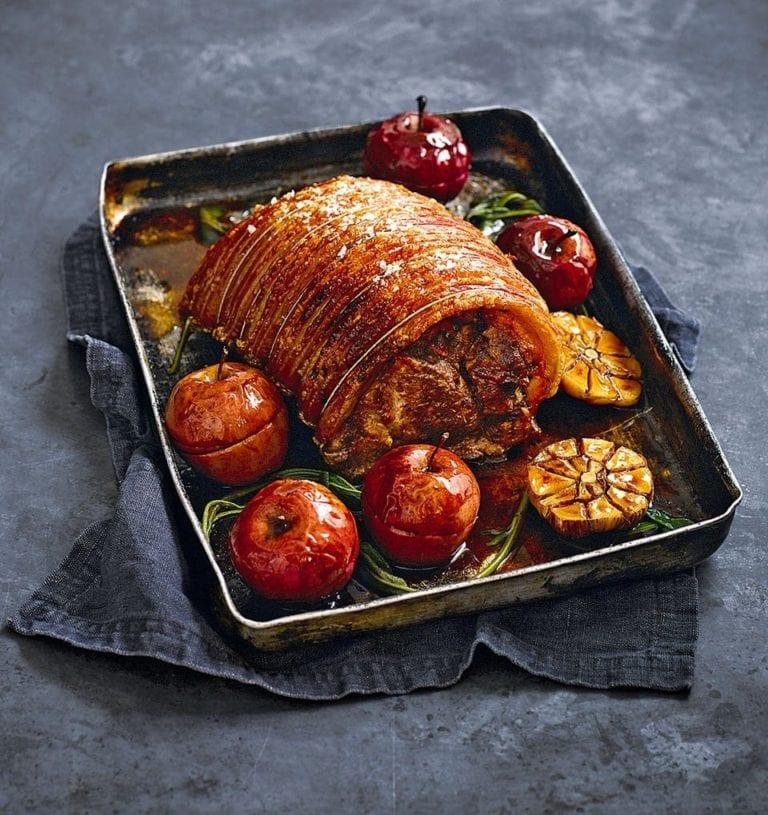 Shoulder of pork with cider and apples