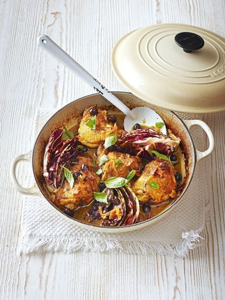 Chicken with olives and radicchio