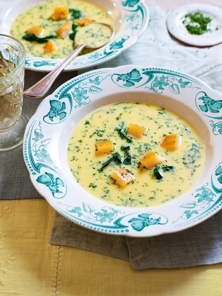 Smoked haddock soup with fresh herbs and spinach