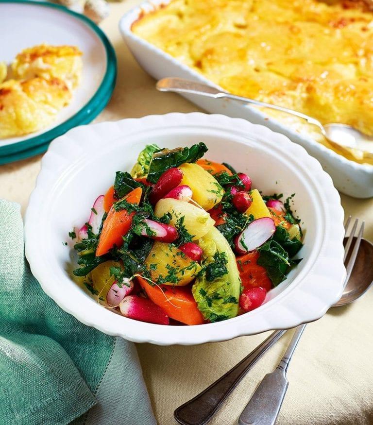 Braised spring vegetables