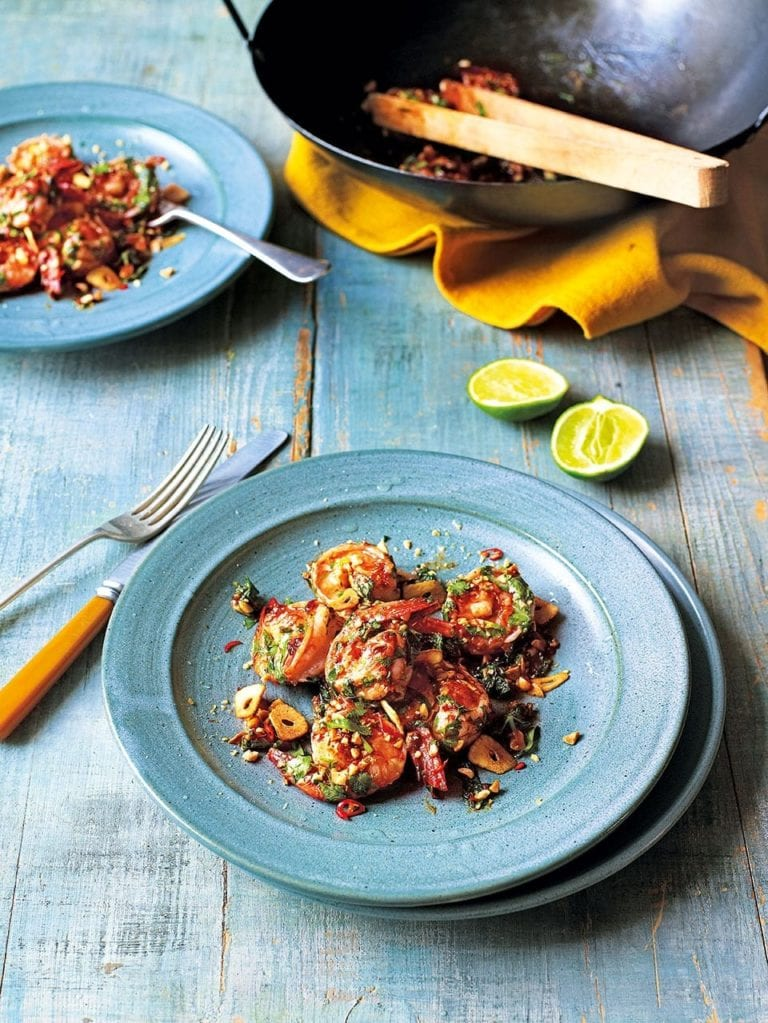 Prawns with tamarind, chilli and peanuts