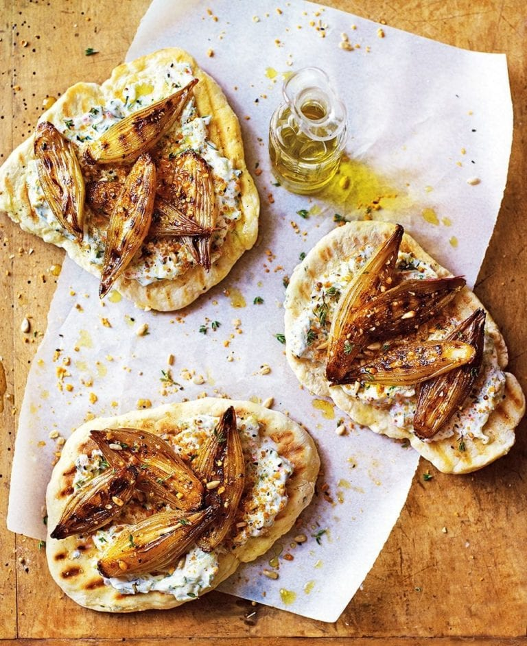 Honey-glazed shallot flatbreads
