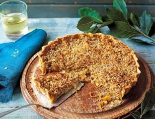 Caramelised onion tart with walnut and parmesan crust
