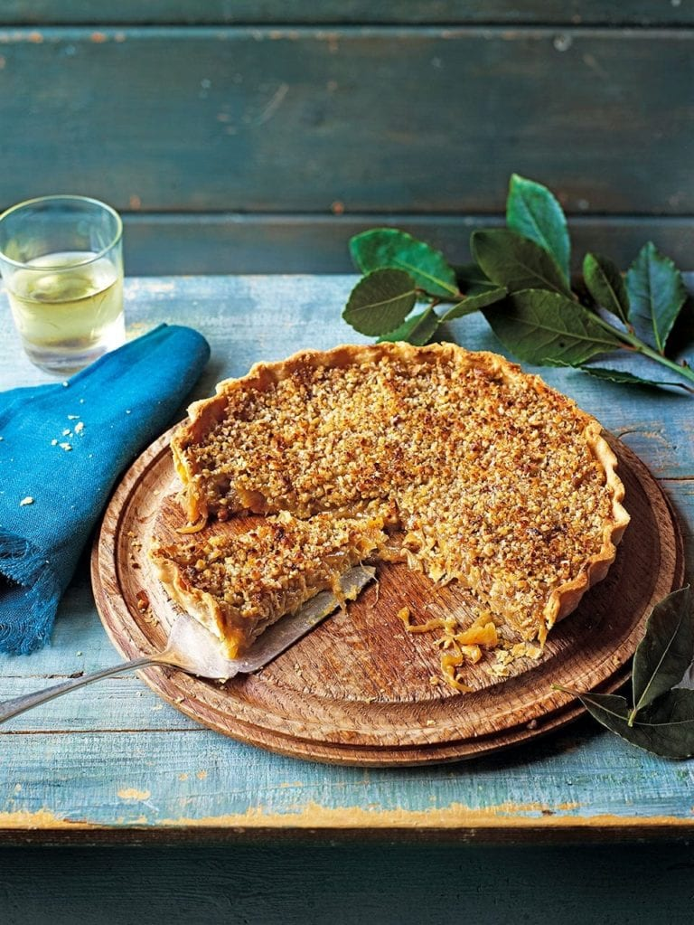 Caramelised onion tart with walnut and parmesan crust
