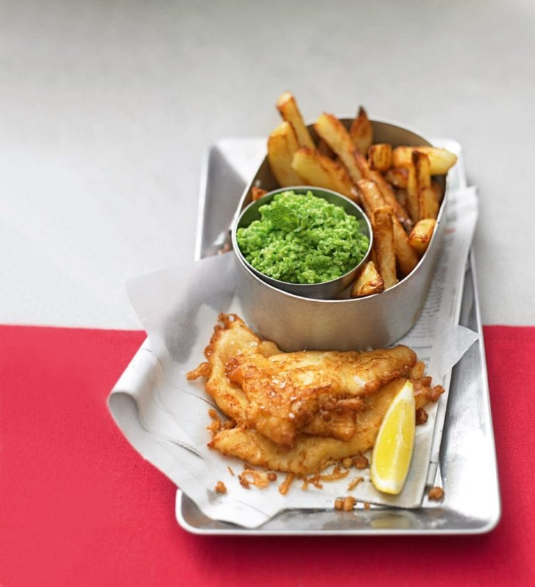 Quick battered fish with minty peas