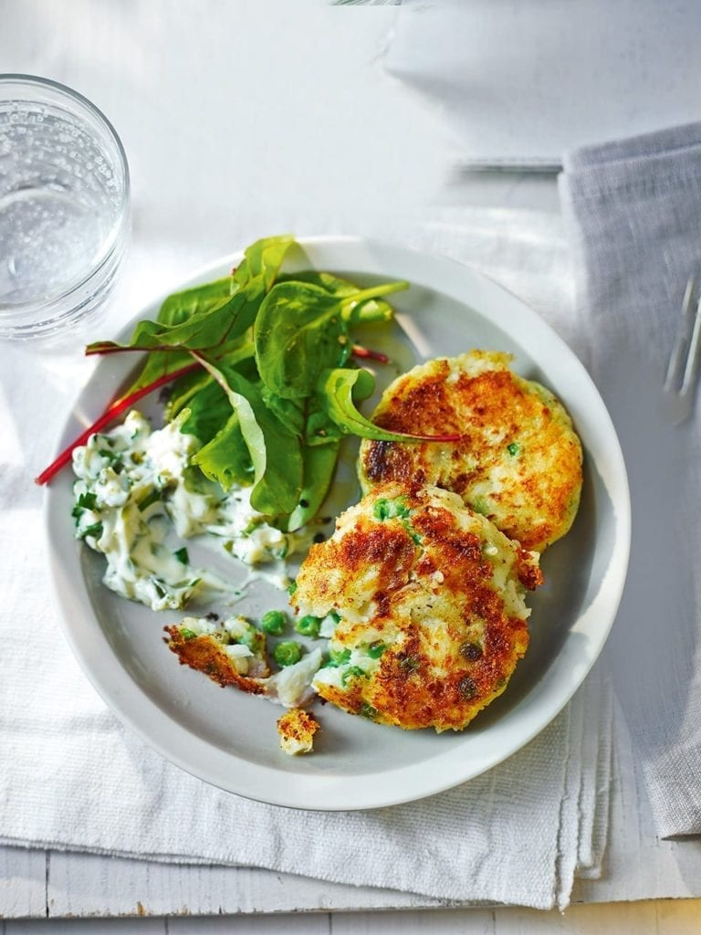 Potato and pea fishcakes
