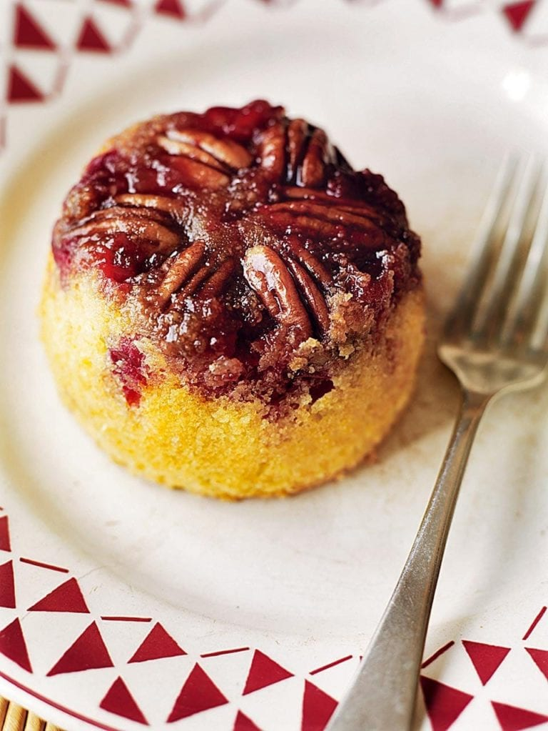 Upside-down cranberry and pecan puddings with orange créme anglaise