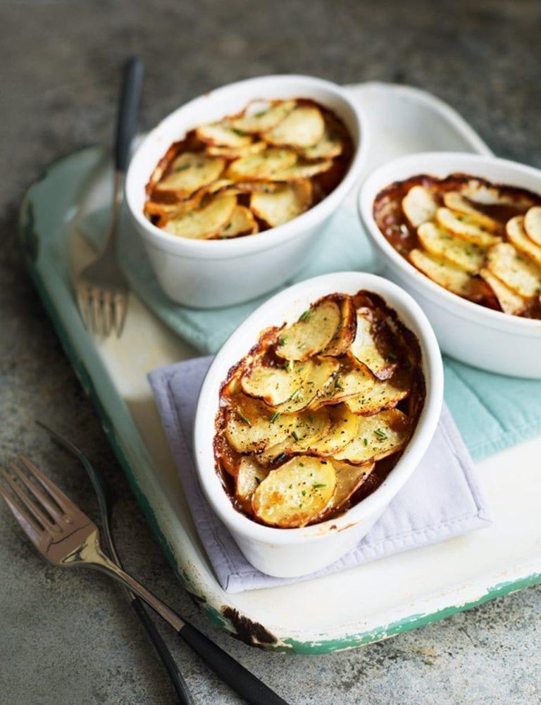 Individual potato and lamb pies
