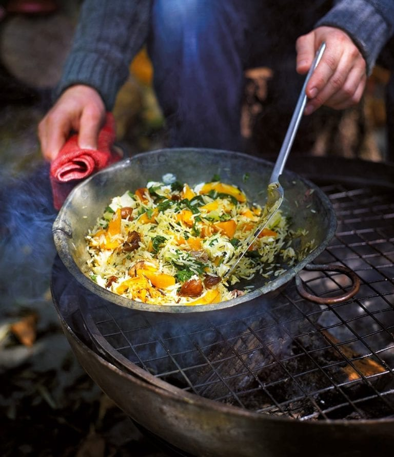 Fried rice with butternut squash, chestnuts and chard