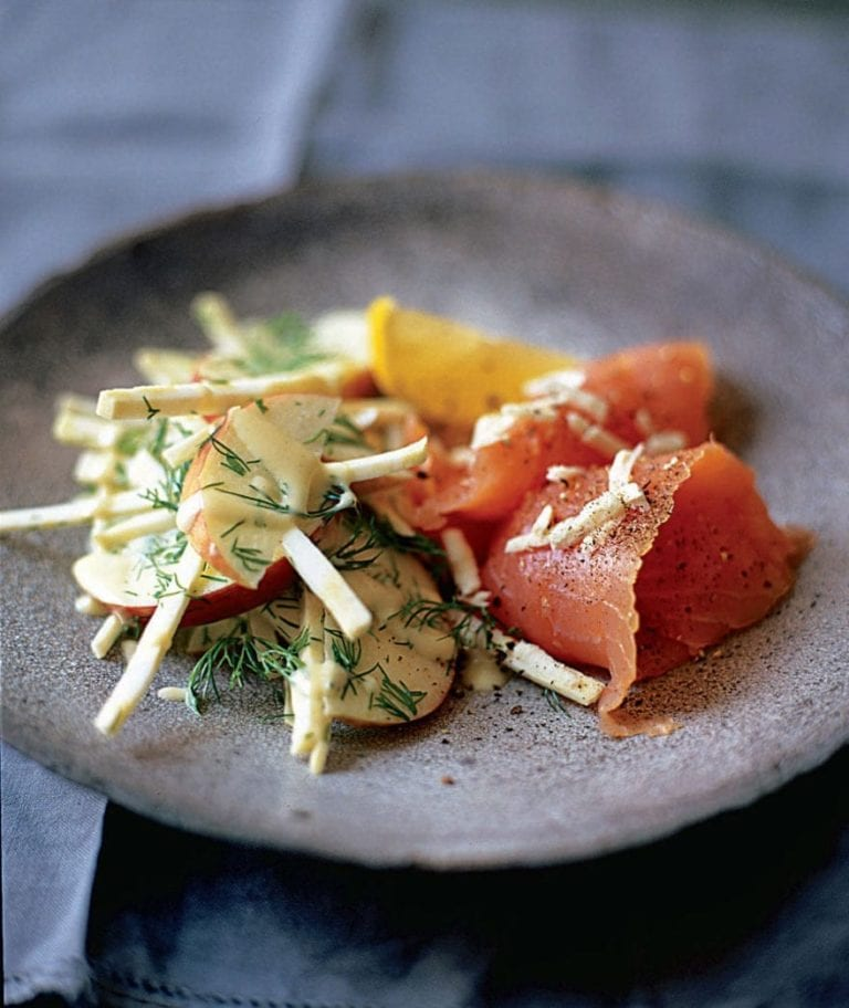 Celeriac remoulade with smoked fish