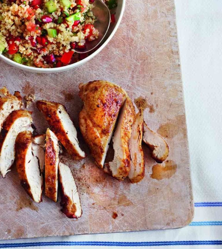 Spiced roast chicken with quinoa tabbouleh